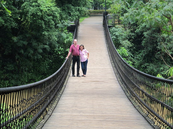 Liangfeng River Forest Park of Nanning: on the hanging bridge over the river