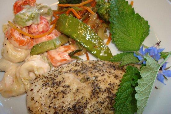 Food Ecstasy Deli Diner Caterer: Olive oil grill Tuscany Chicken  stuffed pasta w/ mandarin orange
