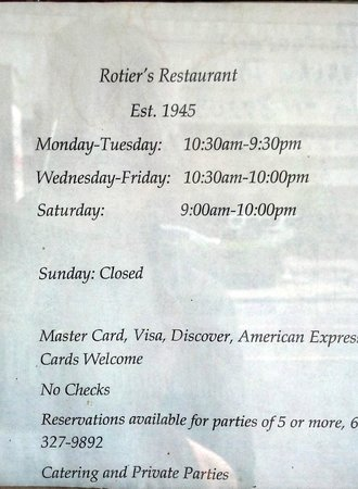 Rotier's: Hours of operation