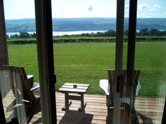 The Inn at Glenora Wine Cellars: View from the room overlooking the vineyards and lake.