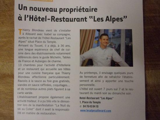 Hotel Les Alpes : Changement Proprietaire