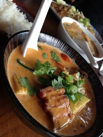 Happy angels eat: Pork belly red curry with rice
