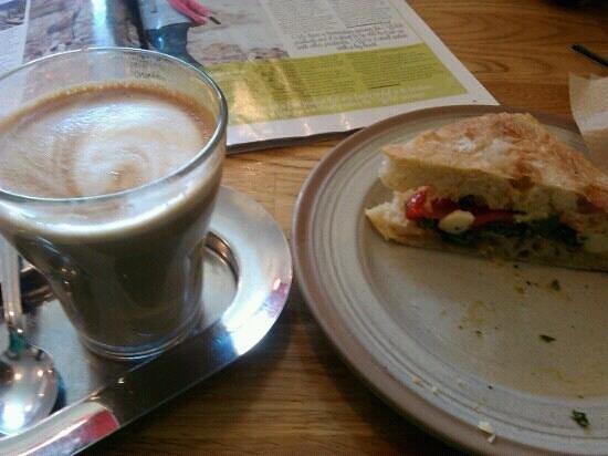 Delicious coffee and sandwich at Massaro's