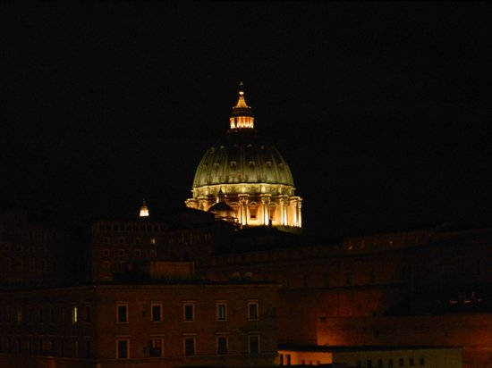 A View of Rome: From our window, dome of St. Peters at night