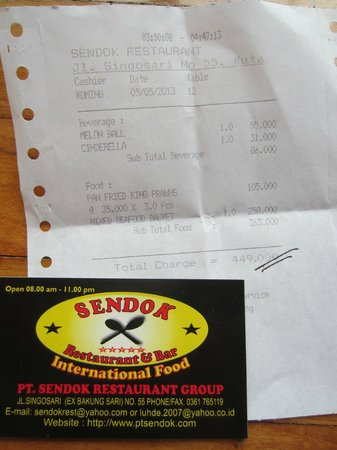 Sendok & Bar Restaurant: Our bill