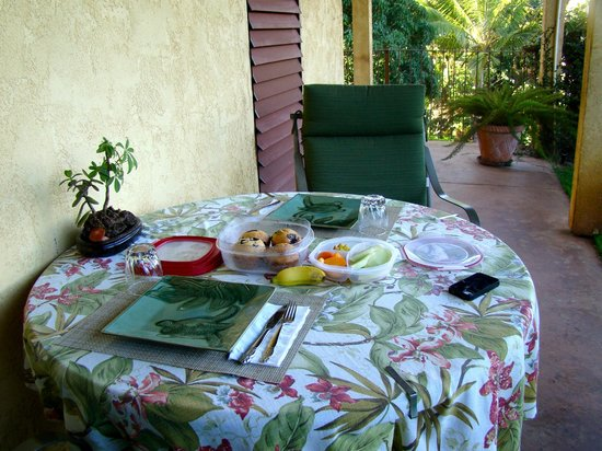 Hale Huanani Bed and Breakfast: Our lanai. Loved sitting out here, listening to the birds.