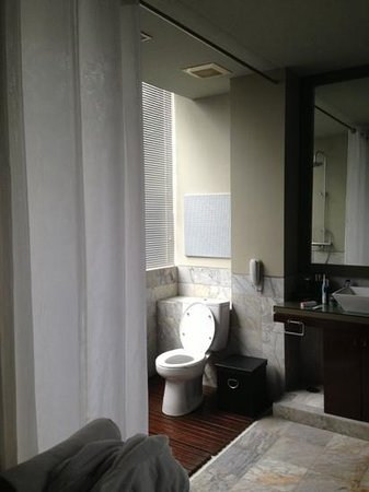 Kemang Icon Hotel : WC faces the shower. Careful not to wet your own toilet seat with the hose!