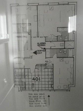Hotel Urbis Centre: Planta de la habitación y situación de la 401