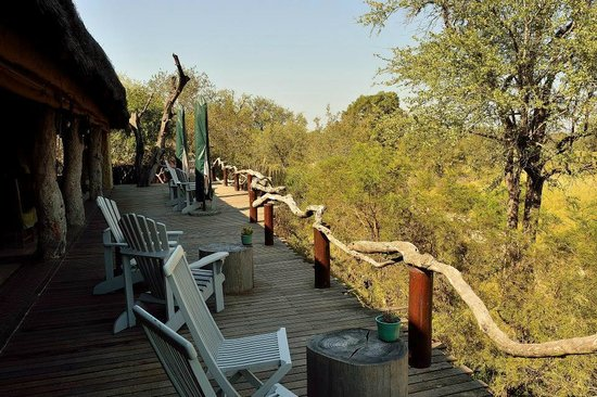 Simbambili Game Lodge: Main lodge deck