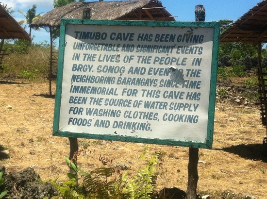 Timobo Caves : Sign at entrance to cave