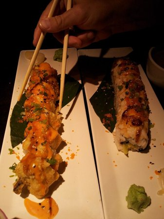 Chomp Sushi & Teppan Grill: kings roll,  baked scallop roll