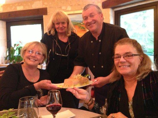 Moulin De Vigonac: Michel and Giselle show us the foie gras our ladies helped prepare