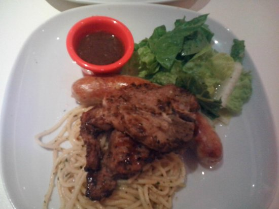 Hot Tomato Express: My first taste of Lambchops with Brutwurst and Aglio Pasta