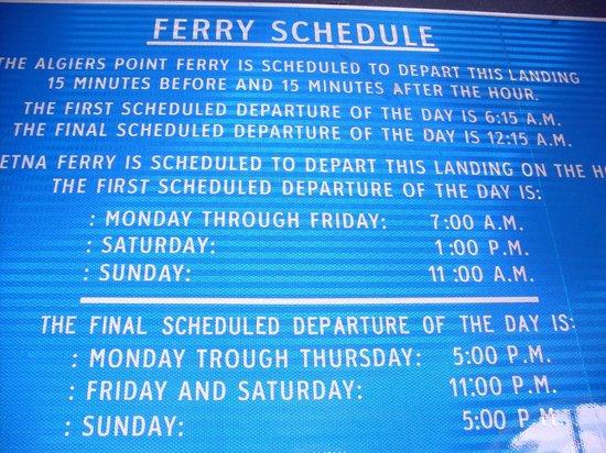 Algiers Point: Free ferry schedule