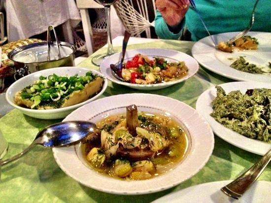 Bahce Restaurant: eggplant salad, spinach yoghurt, artichokes