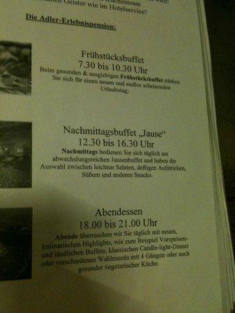Alpenresidenz Adler: menukaart
