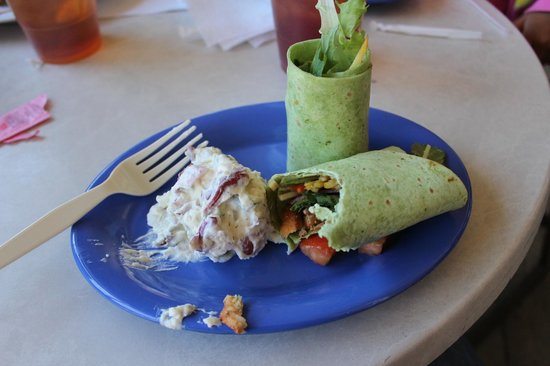 Kojay's Eatery & Coffeehouse: Asian Chick Wrap w/o cheese and potato salad
