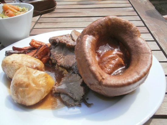 The Old Gate: A giant Yorkshire pudding with Topside beef, two kinds of potatoes and veg.