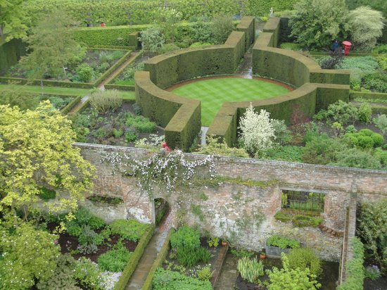 Sissinghurst, UK: View of the garden from Vita Sackville-West's tower/writing room