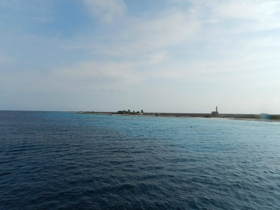 Klein (Little) Curacao: a view of the island as we were approaching it