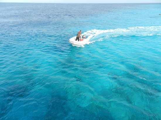 Klein (Little) Curacao: one of the rubber boats they use to transfer you to and from the beach