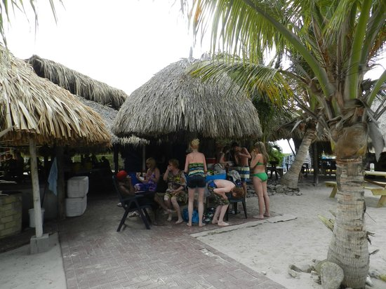 Klein (Little) Curacao: some of the shaded huts that are provided