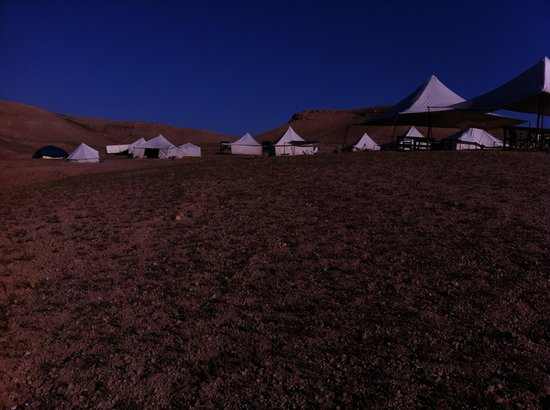 Scarabeo Camp : Watching the sun set over the back of the campsite and the moon rise