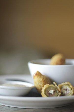 Simpatico: Fried green olives w roast garlic mayonnaise