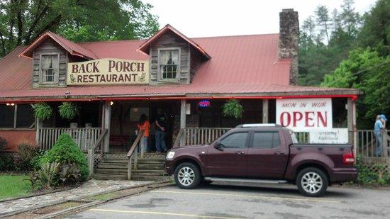 back porch restaurant: mon in wur open