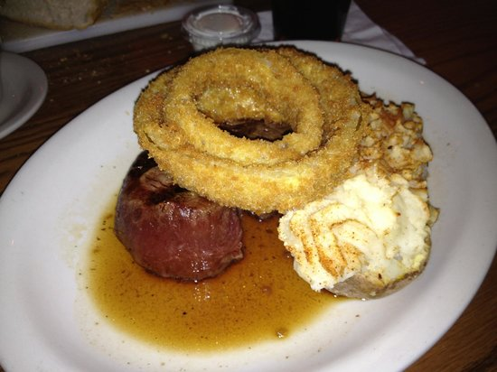 The Pub: Best filet mignon ever with stuffed potato and onion rings