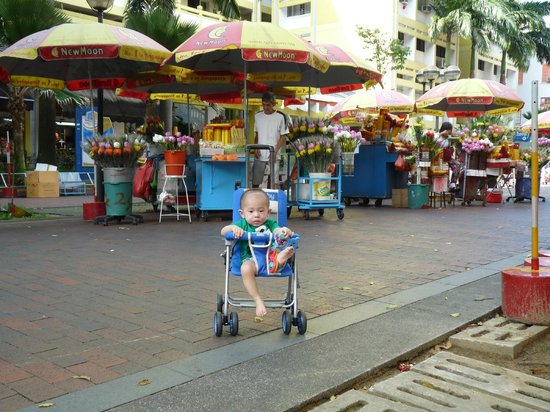 South East Asia Hotel: My Grandson outside the the hotel  pedestrian walk way