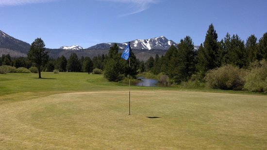 Lake Tahoe Golf Course: View from behind 18 green