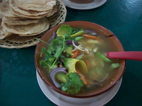 Los Gallos: Traditional Mexican Soup----delicious!