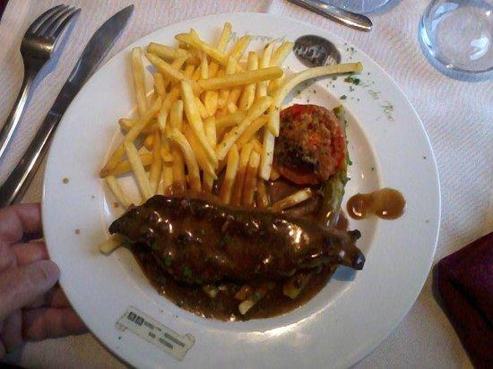 Hotel Restaurant Du Haut du Roc : Faux-filet sauce poivre vert 12.50E