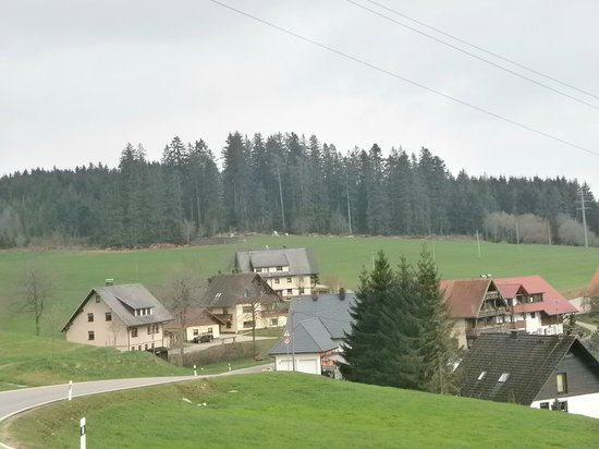 Cafe -Pension Feldbergblick: vue du bas de l hotel