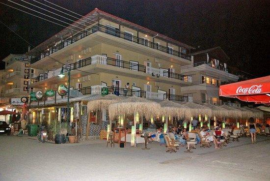 Night shot of El Greco Beach Hotel