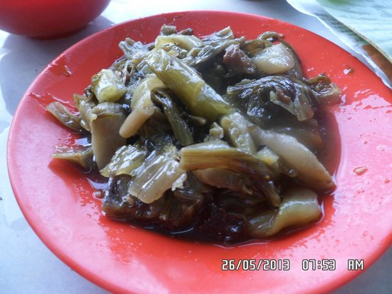 Sungai Besar, Malaisie : salted veggies, another essential dish that goes with pork ribs soup