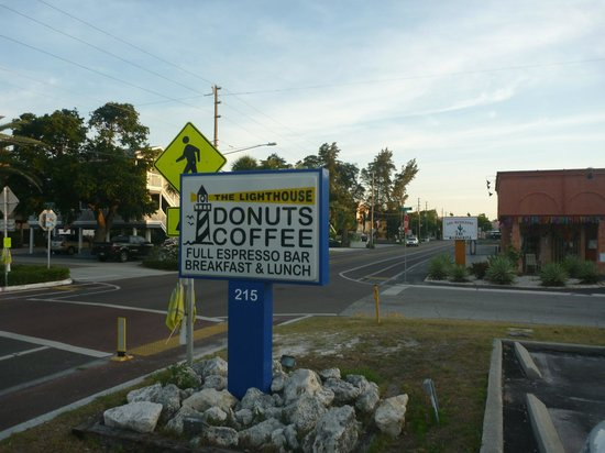 Lighthouse Doughnuts : sign from gulf blvd