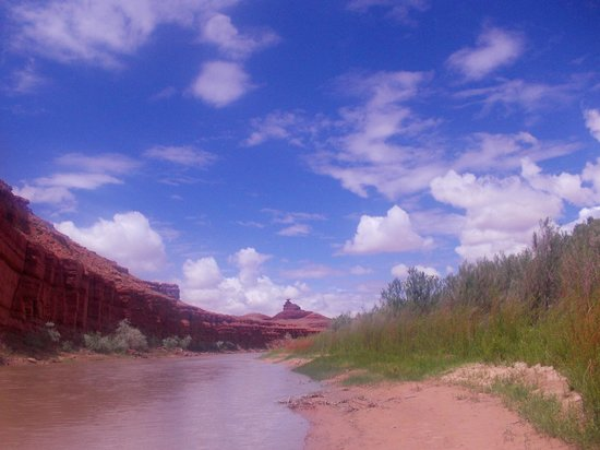 Wild Rivers Expeditions: On the San Juan River (Mexican Hat is downstream in the distance)