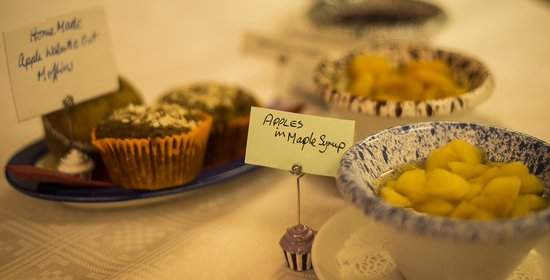 The Fernleigh: Homemade muffins and stewed fruit at the breakfast table.