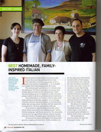 Tita's Italian Bistro : okanagan life magazine