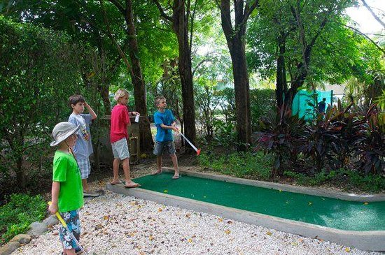 Jungle Mini Golf, Nosara: tricky shot, hit it hard but not too hard, split the trees and cross your fingers.