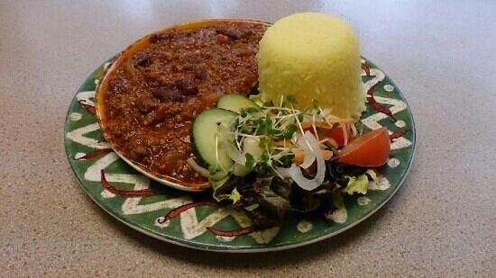 "Bunters : The beautifully presented ""chilli con carne""."