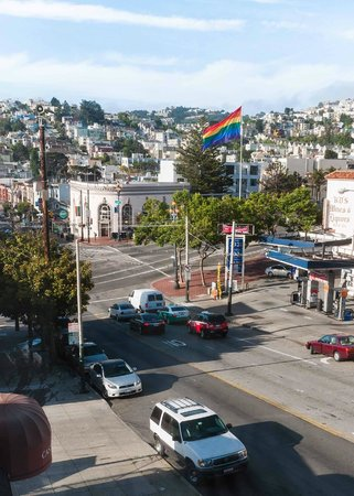 Inn on Castro: View of Castro Street from living room towards Castro / Market intersection