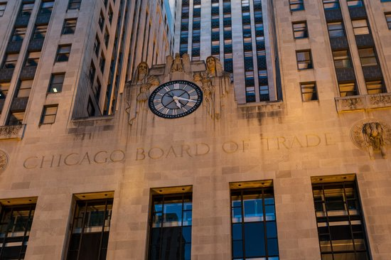 Chicago Board of Trade Building : CBOT Entrance Clock and Sculpture