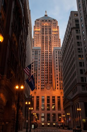 Chicago Board of Trade Building : CBOT at Dusk Looking South down LaSalle