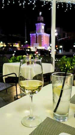 A glass of Caposaldo Pinot Grigio on Ovenella's patio.
