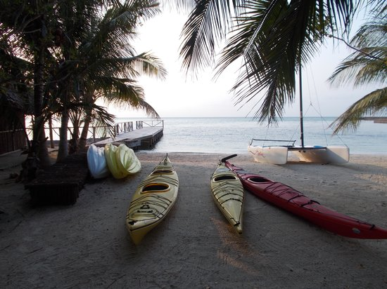 Thatch Caye Resort: kayak beach
