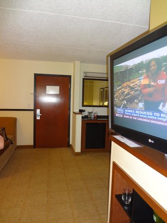 Hyatt Place Cleveland/Independence: Large rotating TV.