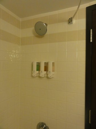 Drury Inn & Suites Champaign: Shower/Tub and product dispenser